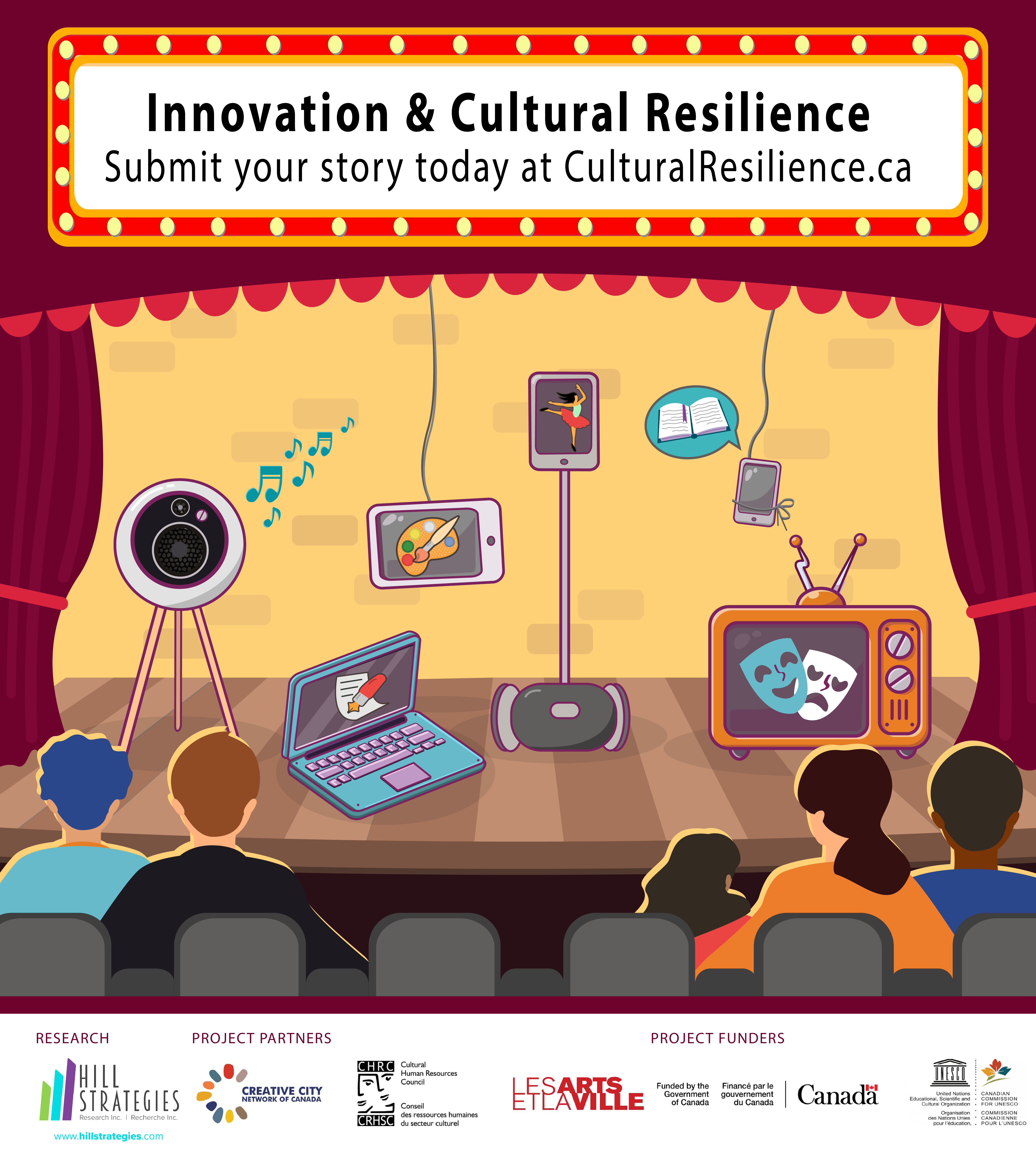 """Image: Marquee reads """"Innovation & Cultural Resilience. Submit your story today at http://CulturalResilience.ca."""" Electronic devices on stage play cultural works, with five people watching."""